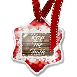 Christmas Ornament Painted Wood Keep The Faith, red - Neonblond