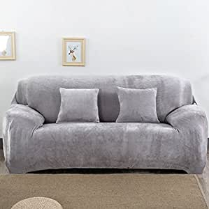 Pinkdose® Light Grey, 3 Seater : Covers On The Sofa Corner Stretch Fabric Elastic L-Shaped Red Sofa Cover Universal Sofa Towel Thick Slipcover Couch C
