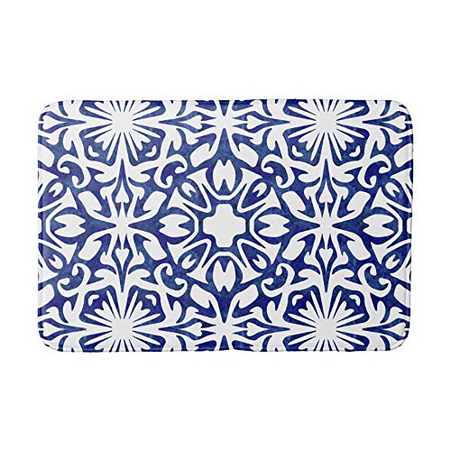 Blue and White Watercolor Spanish Tile Pattern Bathroom Mat Kicthen Rug ()