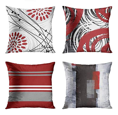 ArtSocket Set of 4 Throw Pillow Covers Gray Black Red Floral Retro Bold Grey Spiral Crimson White Stripe Brick Decorative Pillow Cases Home Decor Square 18x18 Inches Pillowcases (Pillows And Grey Red)
