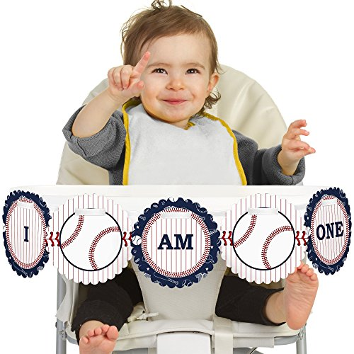 Big Dot of Happiness Batter Up - Baseball 1st Birthday - I Am One - First Birthday High Chair Banner 1st Birthday Baseball
