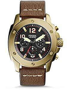 Fossil Modern Machine Men's Black Dial Leather Band Chronograph Watch - FS5065