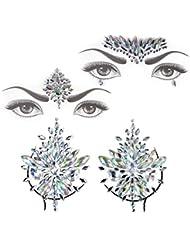 Face Jewels Gem Bindi Body Jewelry Nipple Stickers Rhinestone Tattoo Face Rocks by PIAOPIAONIU