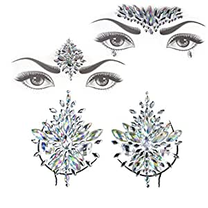 Face Jewels Gem Bindi Body Jewelry Nipple Stickers Rhinestone Tattoo Face Rocks by PIAOPIAONIU