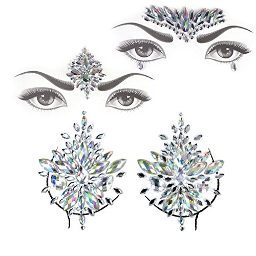 Face Jewels Gem Bindi Body Jewelry Nipple Stickers Rhinestone Tattoo Face Rocks by PIAOPIAONIU ()