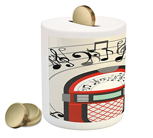 Ambesonne Jukebox Piggy Bank, Cartoon Antique Old Vintage Radio Music Box Party with Notes Artwork, Printed Ceramic Coin Bank Money Box for Cash Saving, Black White Grey and Red