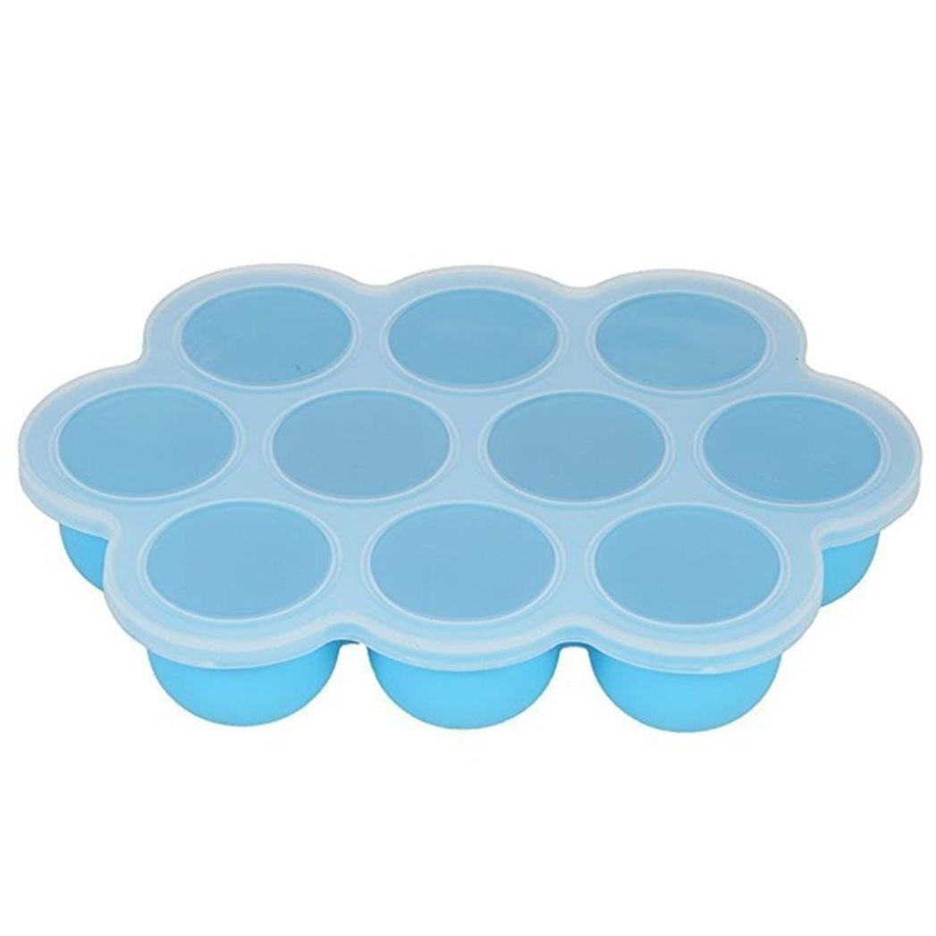 SUJING Silicone Baby Food Freezer Tray Silicone Egg Shape Molds Baby Food Storage Containers Lid Reusable Mold (blue)