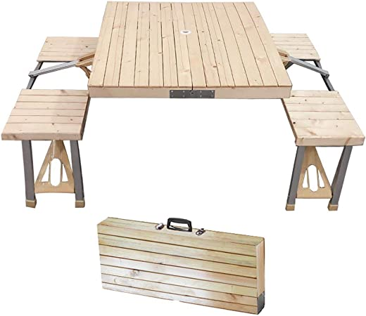 Amazon Com Stoncel Folding Table And Chairs Set Portable Picnic
