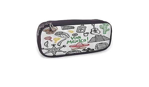 Estuche de lápices de cuero Dibujo mexicano Objeto latino con burritos Guitarra Tequila Botella Piñata Quetzal Coati: Amazon.es: Oficina y papelería