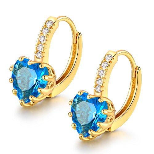 MASOP Blue Crystal Heart Shape Huggie Hoop Earrings December Birthstone Gold Tone Women Girls (Birthstone Heart Childrens Earrings)