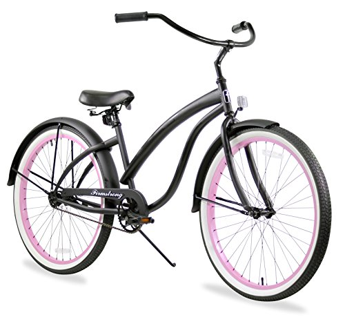 Firmstrong Bella Fashionista Single Speed Beach Cruiser Bicycle, 26-Inch, Matte Black/Pink Rims (Pink Rims Black)