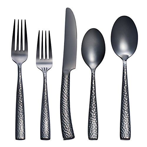 Deacory Flatware 20 Piece Stainless Steel Black Flatware Sets Service for 4 with Polished And Hammered Handle Including Knife Fork Spoon by Deacory