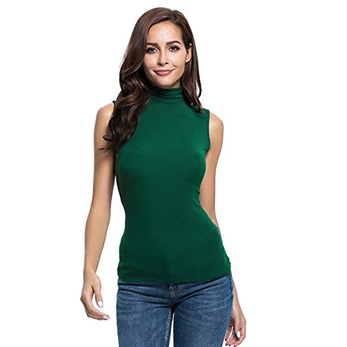 Bestow Camiseta sin Mangas con Cuello Alto de Color sólido para Mujer y Corte Slim para