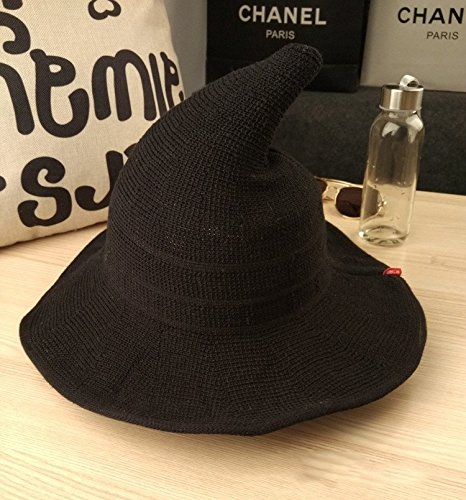 Luoke Women Summer Witch Cotton Sun Hat Foldable Costume Ball Hat Cap (Black)