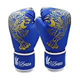 1 Pair Tiger Pattern Kids Boxing Gloves PU Leather for Training, fighting, Sand Bags, Competition for Age 5-12 Years Girls Boys (Red/Blue/Black)