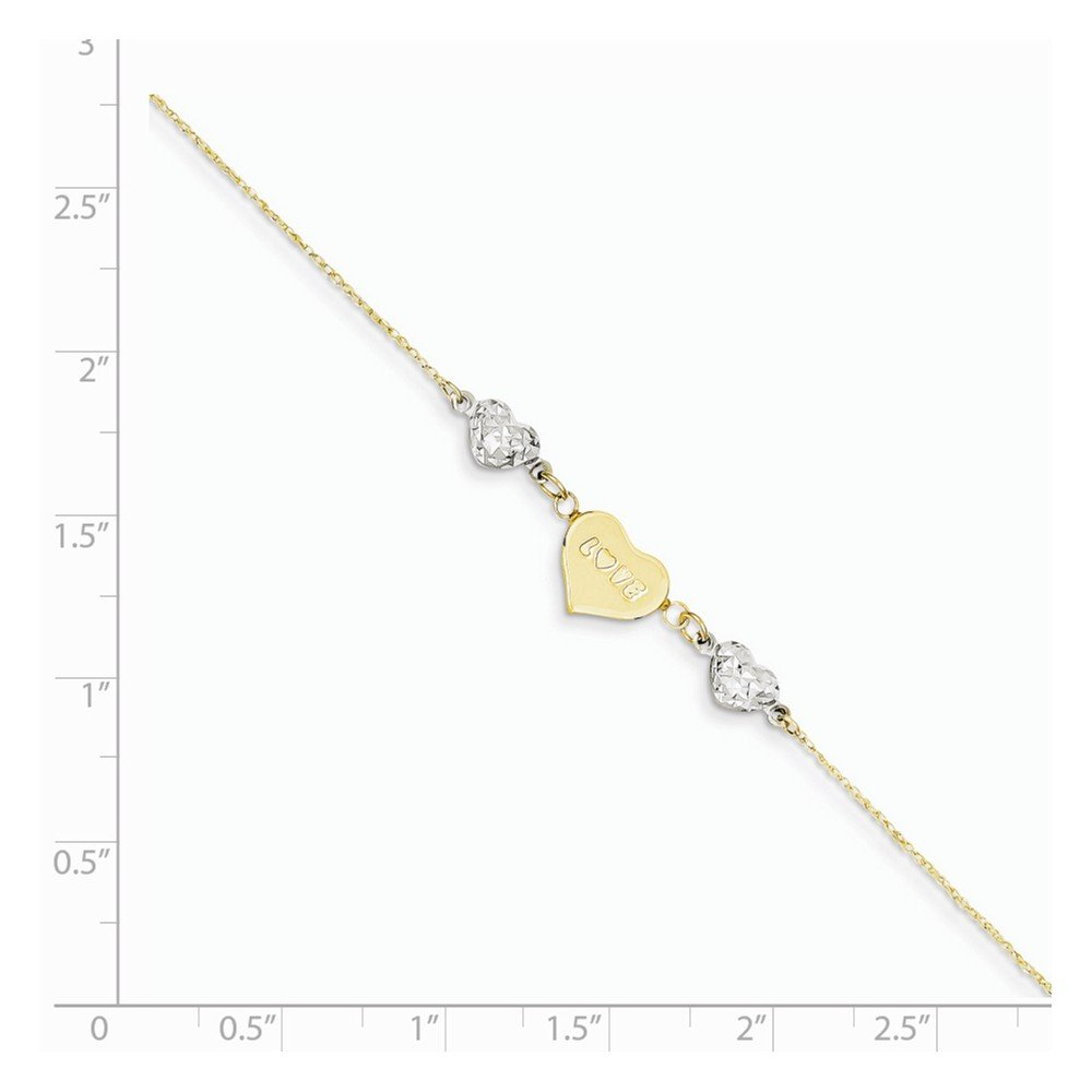 14K Two-tone Diamond Cut Puffed Heart LOVE w/ 1in Ext Anklet by Saris and Things (Image #4)