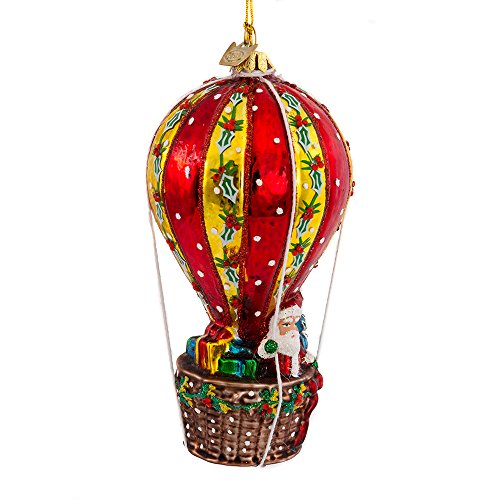 Noble Gems Kurt Adler 5-1/2-Inch Glass Santa in Hot Air Balloon Ornament