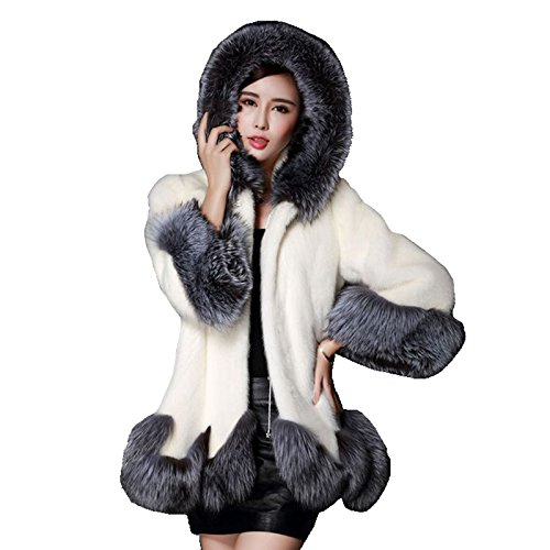 Sintética HerZii para Piel Mujer Invierno Blanco de Mullido Chaqueta Chaqueta Abrigo w11OSxq