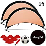 Juegoal Pop Up Soccer Goals for Training Soccer Goals Net with Carry Bag, Set of 2, Sizes 6'