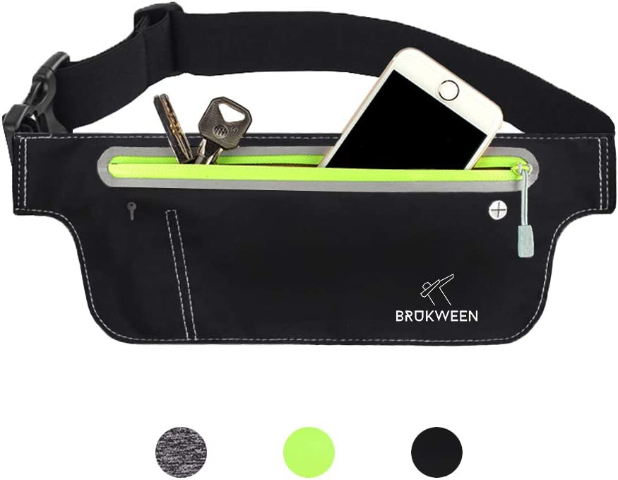 Brukween Running Belt Waist Pack Fitness Water-Resistance – for Men, Women – Adjustable for Most Sizes of Phones for Running, Workouts, Cycling, Travelling, Triathlons, Marathon