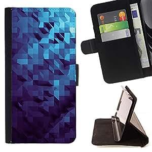 Momo Phone Case / Flip Funda de Cuero Case Cover - Patrón dimensional 3D Azul - Samsung ALPHA G850