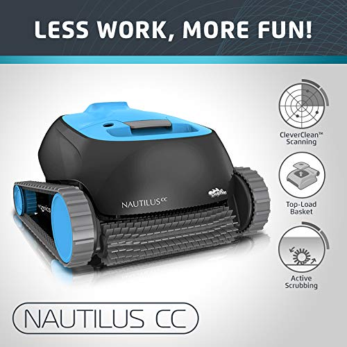 Dolphin Nautilus CC Automatic Robotic Pool Cleaner with Large Capacity Top Load Filter Basket Ideal for Swimming Pools up to 33 Feet ()