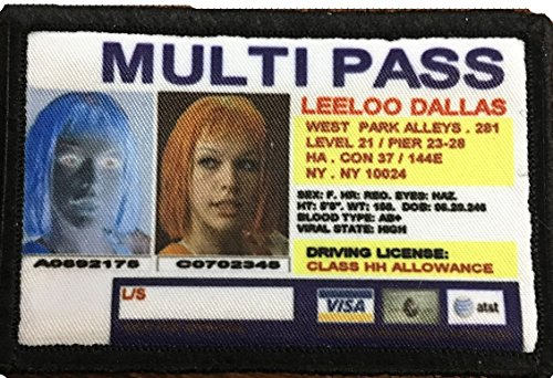 Fifth Element Leeloo Dallas Multipass Morale Patch. Perfect for your Tactical Military Army Gear, Backpack, Operator Baseball Cap, Plate Carrier or Vest. 2x3