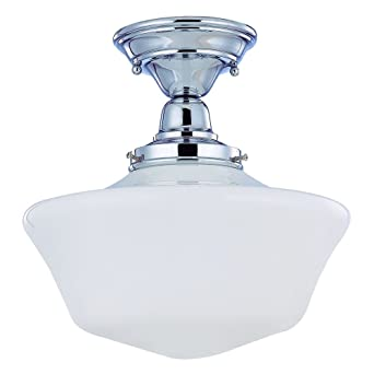 12 Inch Retro Style Schoolhouse Ceiling Light In Chrome Finish