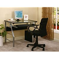 Kings Brand 2940 Metal and Glass Top Home Office Computer Desk/Table, Silver Finish