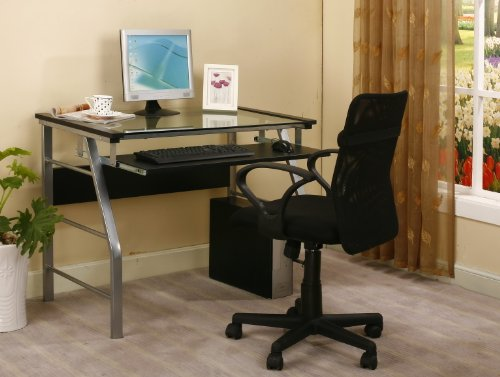 King s Brand 2940 Metal and Glass Top Home Office Computer Desk Table, Silver Finish