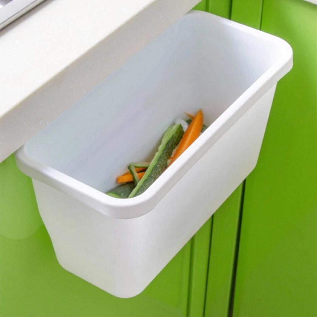 YJYdada Creative Kitchen Garbage Box Cabinet Doors Hanging Trash Can Peel Storage Box (White, S)