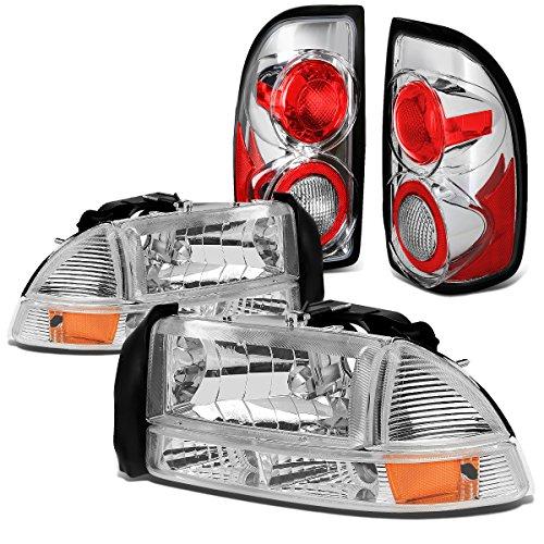 Dodge Dakota Headlight Corner Park (Dodge Dakota 4pcs Pair of Chrome Housing Amber Corner Headlights + Chrome Altezza Style Tail Light)