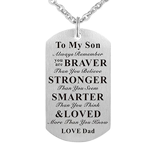 to My Son Kids Child Birthday Gift Jewelry Dog Tag Pendant Necklace from Dad