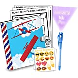 Airplane Kids Diary With Lock Includes 6.5 Inch Diary, Invisible Ink Pen, Stickers, & Bonus Activity Pages