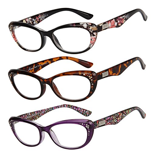 LianSan womens designer wayfarer compact cat eye retro fashion reading glasses 1.0 1.25 1 .5 1.75 2 00 2.25 2.50 2.75 3.0 3.25 3.5 4.0 L3705 3 pack (bk-pu-leo, - Price Versace Eyewear