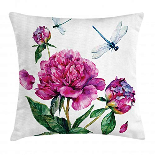 "Ambesonne Flower Throw Pillow Cushion Cover, Watercolor Peonies and Dragonflies Blossoming Spring with Romantic Feminine Bouquet, Decorative Square Accent Pillow Case, 16"" X 16"", Green Fuchsia"