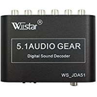 Wiistar 5.1 Audio Decoder Digital AC3 Optical to Stereo Surround Analog HD 2 SPDIF Ports HD Audio Rush for HD Players / DVD / XBOX360