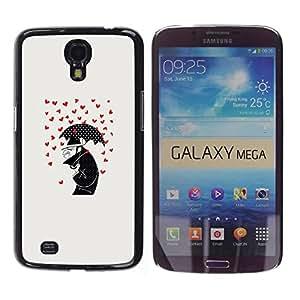 FECELL CITY // Duro Aluminio Pegatina PC Caso decorativo Funda Carcasa de Protección para Samsung Galaxy Mega 6.3 I9200 SGH-i527 // Hearts Love Cartoon Deep