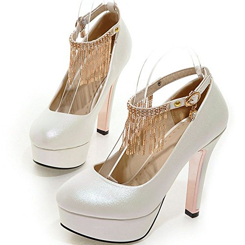 Women Heels Block Chain Strap Toe Pumps Round Shoes Heeled Platform White LongFengMa dqzxwagd