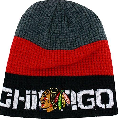 Chicago Blackhawks Boys 8-20 Reebok Gray/Black Center Ice Uncuffed Knit Beanie (Reebok Embroidered Hat)