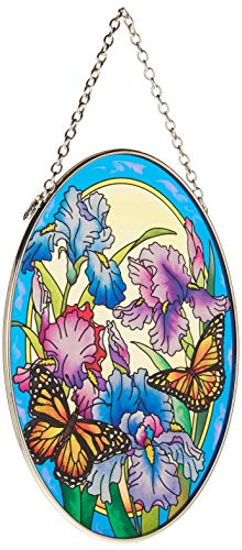 (Amia Hand Painted Glass Suncatcher with Iris and Butterfly Design, 5-1/4-Inch by 7-Inch Oval)