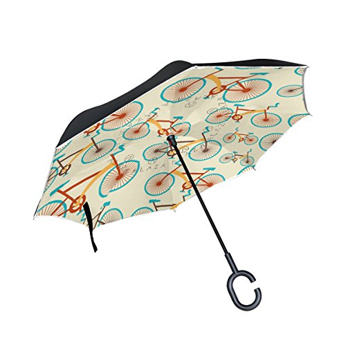 Yuihome Double Layer Inverted Reverse Umbrella Bikes Windproof for Car Rain Outside C-shapped Handle by Yuihome