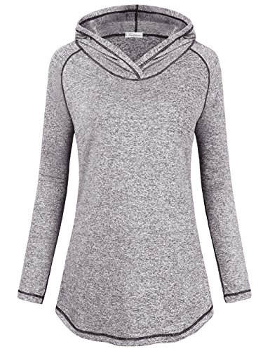 Faddare Sport Sweatshirts Hoodies, Teen Girls Professional Clothes For Workout Plus Size Pleasant Activewear Hoodie Knitted Pullover Simple Plain Sweatshirt,Grey 2XL