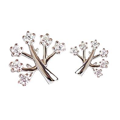 Nikgic 1pair Pendientes de Wish tree Pendientes Plateados de Moda Creativa para Día de San Valentín