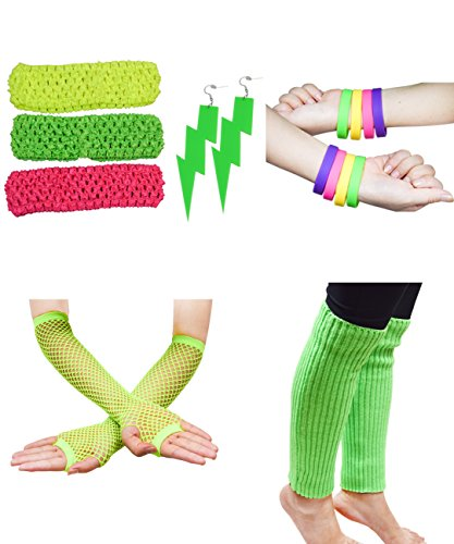 80s Neon Accessories (80S Outfit Costume Accessories Set Neon Earrings Leg Warmers Fishnet Gloves)