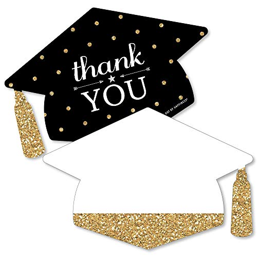 Tassel Shaped (Gold - Tassel Worth The Hassle - Shaped Thank You Cards - Graduation Party Thank You Note Cards with Envelopes - Set of 12)