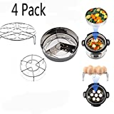 HomeYoo 4 Pack Steamer Basket Set With Egg Steamer Rack for Instant Pot and Pressure Cooker, Vegetable Steam Rack Stand, Removeable Dividers.Fit 5,6,8 qt Pressure Cooker(Steamer Basket With Egg Rack)