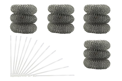 12 Pack of Washing Machine Lint Traps. Comes with 12 Ties. Attach to Your Washer Sink Hose and Allow the Metal Mesh Trap to Filter the Laundry Water. Stainless Steel ()
