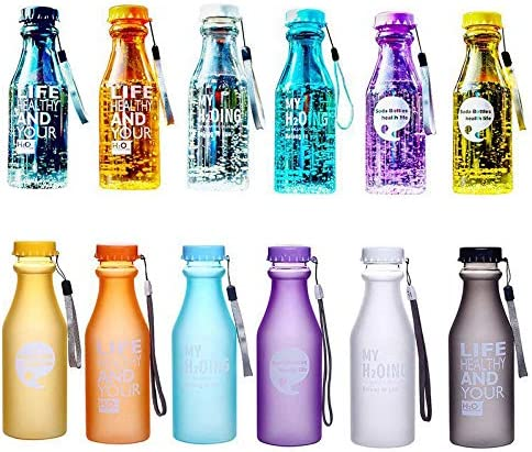 Portable Travel Yoga Running Leak-proof Plastic Cup Sports Water Bottle Frosted