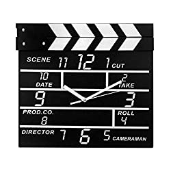 Kinger_Home Large Retro Cinema Movie Slate Analog Wall Clock Clapper Film Modern Home
